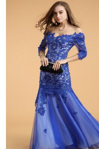 Mermaid Lace Royal Blue Dress for Prom Prom and Party and For with Beading Off The Shoulder Sleeveless Zipper