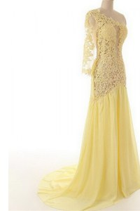 Light Yellow One Shoulder Side Zipper Lace Dress for Prom Sweep Train 3 4 Length Sleeve