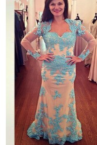 Lovely Chiffon Long Sleeves With Train Homecoming Dress Brush Train and Beading