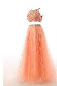 Fabulous Scoop Sleeveless Organza Womens Evening Dresses Beading and Belt Sweep Train Side Zipper