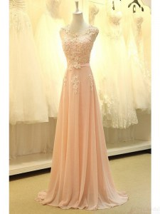 Scoop Sleeveless Appliques and Belt Zipper Evening Dress with Peach Sweep Train