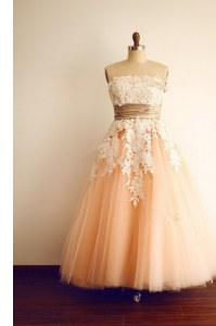 Peach Homecoming Dress Prom and Party and For with Lace and Appliques and Belt Strapless Sleeveless Zipper