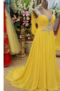 Scoop Sleeveless Organza Pageant Dress for Girls Appliques Brush Train Backless