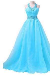 Floor Length Aqua Blue Evening Party Dresses Halter Top Sleeveless Lace Up