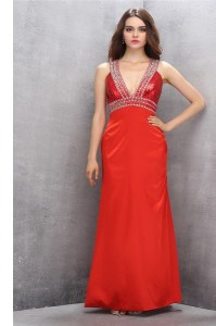 V-neck Sleeveless Satin Homecoming Dress Beading Criss Cross