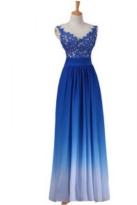 On Sale Blue Backless Prom Dress Lace Sleeveless Floor Length