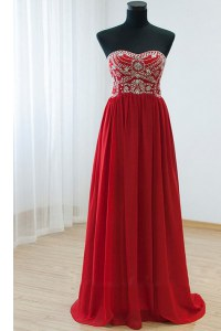 Customized Sweetheart Sleeveless Zipper Prom Party Dress Red Chiffon