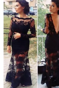Amazing Black Column/Sheath Organza Scalloped Long Sleeves Lace Floor Length Backless Evening Wear