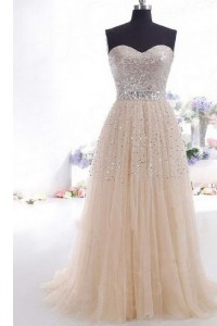 Sleeveless Beading and Belt Zipper Prom Gown with Champagne Sweep Train