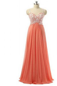Floor Length Empire Sleeveless Watermelon Red Homecoming Gowns Zipper