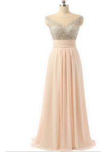 Organza Scoop Sleeveless Sweep Train Side Zipper Beading and Sequins and Belt Prom Evening Gown in Peach