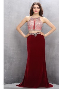 Flare Scoop Burgundy Prom Dresses Chiffon Brush Train Sleeveless Beading and Appliques