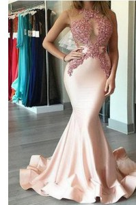Fabulous Mermaid Peach Chiffon Zipper Scoop Sleeveless With Train Formal Evening Gowns Brush Train Beading