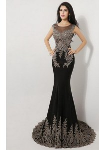 Nice Mermaid Scoop Sleeveless Silk Like Satin Floor Length Brush Train Zipper Dress for Prom in Black with Appliques