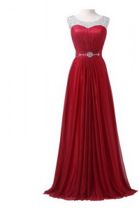 Spectacular Scoop Wine Red Chiffon Zipper Prom Gown Sleeveless With Brush Train Beading and Ruching