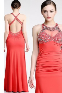 Scoop Sleeveless Criss Cross Floor Length Beading Formal Evening Gowns