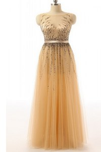 Dynamic Beading and Belt Evening Dress Gold Side Zipper Sleeveless Floor Length