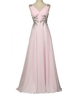 Baby Pink Column/Sheath Chiffon V-neck Sleeveless Beading With Train Zipper Pageant Dress Wholesale Brush Train