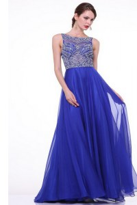 Beautiful Beading and Ruching Prom Gown Royal Blue Zipper Sleeveless With Brush Train