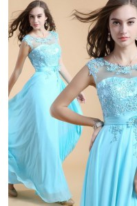 Scoop Aqua Blue Column/Sheath Appliques Prom Party Dress Zipper Chiffon Sleeveless Floor Length