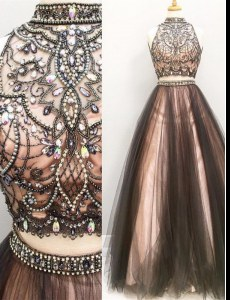Best Selling Brown Two Pieces Beading and Ruching Evening Dress Zipper Tulle Sleeveless Floor Length