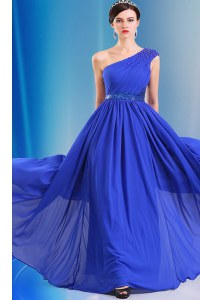 One Shoulder Royal Blue Sleeveless Floor Length Ruching and Belt Side Zipper Evening Dress