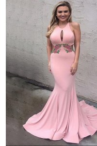 Mermaid Scoop Sleeveless Prom Party Dress With Brush Train Appliques Pink Elastic Woven Satin