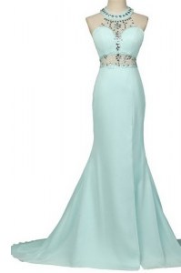 Light Blue Mermaid Chiffon Halter Top Sleeveless Beading With Train Zipper Prom Dress Brush Train