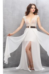 Sleeveless Lace and Belt Zipper Womens Evening Dresses with White Sweep Train