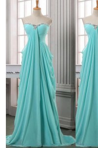 Exquisite Sleeveless Brush Train Ruching Zipper Prom Evening Gown