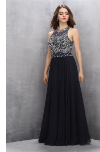 Noble Scoop Sleeveless Beading Backless Dress for Prom
