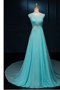 Colorful Scoop Sleeveless Chiffon With Brush Train Zipper Homecoming Dress in Baby Blue with Beading and Appliques