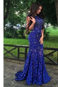 Beautiful Mermaid Royal Blue Scoop Backless Beading and Lace Homecoming Dress Brush Train Sleeveless