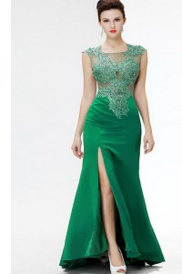Dark Green Square Zipper Beading and Appliques Prom Gown Sweep Train Sleeveless