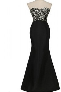 High Quality Mermaid Black Satin Lace Up Sweetheart Sleeveless Floor Length Prom Party Dress Pattern