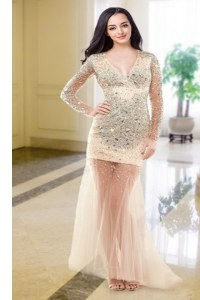 Decent Peach Long Sleeves Beading Floor Length Prom Gown