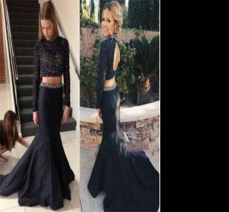 Black Evening Outfits Prom and Party and For with Beading High-neck Long Sleeves Brush Train Backless