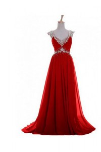Chiffon V-neck Sleeveless Brush Train Zipper Beading and Belt Homecoming Dress in Red