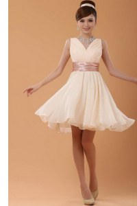 Exquisite Peach V-neck Neckline Belt Club Wear Sleeveless Zipper