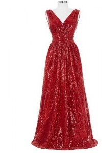 Colorful Red Column/Sheath Sequined V-neck Sleeveless Sequins With Train Zipper Prom Gown Brush Train