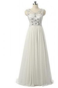 Chiffon Sleeveless Floor Length Juniors Evening Dress and Beading