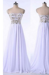 White Empire Bateau Sleeveless Organza Brush Train Zipper Appliques and Belt Club Wear