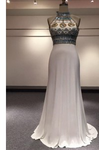 Edgy Sleeveless Elastic Woven Satin With Brush Train Zipper Evening Dress in White with Beading