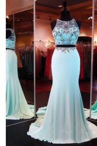 Inexpensive Mermaid Aqua Blue Evening Outfits Prom and Party and For with Beading Scoop Sleeveless Brush Train Zipper