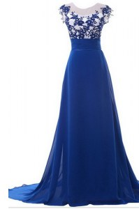 Scoop Sleeveless Chiffon With Brush Train Zipper Prom Evening Gown in Blue with Beading and Appliques
