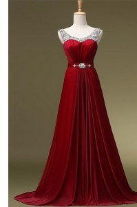 Scoop Sleeveless Brush Train Zipper Prom Party Dress Wine Red Chiffon