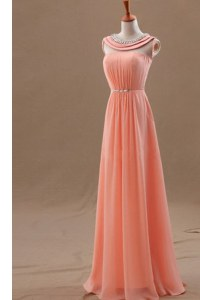 Beading Evening Dress Watermelon Red Zipper Sleeveless Floor Length
