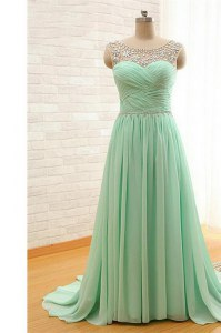 Scoop With Train Zipper Dress for Prom Apple Green for Prom and Party with Beading and Ruching Brush Train