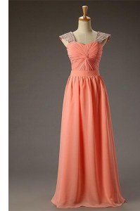 Fashionable Watermelon Red Zipper Prom Dresses Beading and Ruching Sleeveless Floor Length