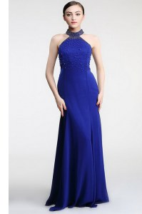 Affordable Zipper Dress for Prom Royal Blue for Prom and Party with Lace Sweep Train